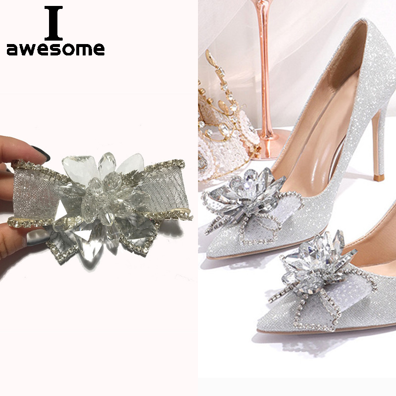 New Shining Crystal Bow-knot Rhinestone Bridal Wedding Party Shoes Accessories For High Heels Sandals Decorations Shoe's Flower