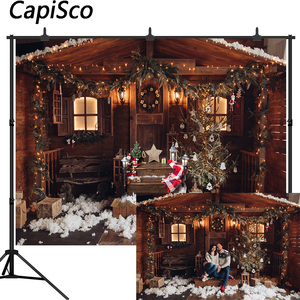 Capisco Christmas Trees Lights Photography Backdrops Winter Snow wood house Newborn Baby Photo Backgrounds New Year Studio Props