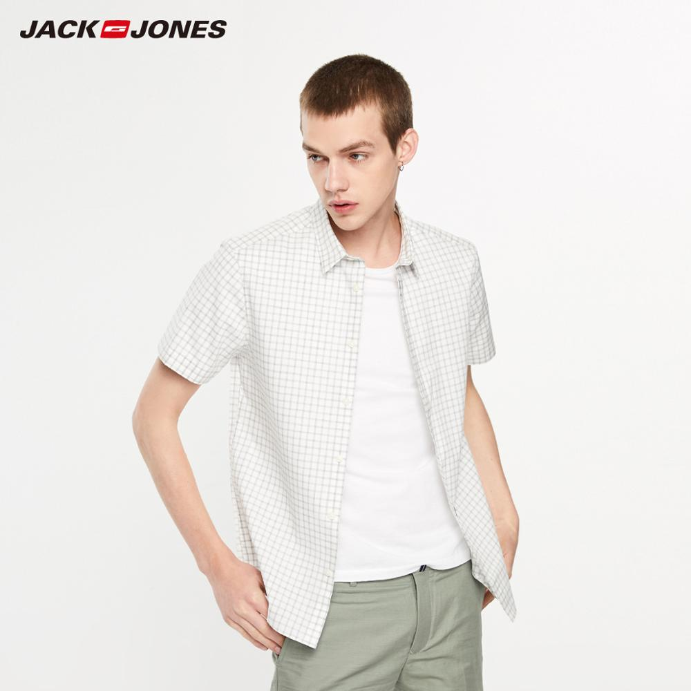 JackJones Men's Slim Fit 100% Cotton Checked Concealed Buttons Short-sleeved Style Shirt| 219204518