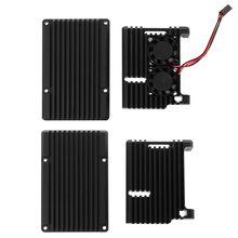 цена на Aluminum Alloy Enclosure Case Metal Shell Black Box Radiating Plate Heatsink Cooler for Raspberry Pi 4 Model B E65A