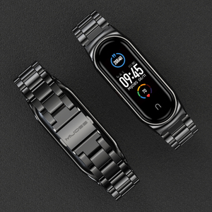 Image 1 - Strap for Mi Band 5 NFC Global Version Bracelet for Xiaomi Mi Band 4 Wristbands Metal Wrist Strap for Mi Band 3 Stainless Steel