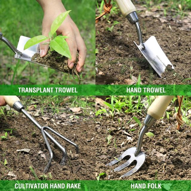 WORKPRO 8PC Garden Tools Set Stainless Steel Heavy Duty Wooden Handle Tote Gloves Trowel Hand Weeder Cultivator Included 6