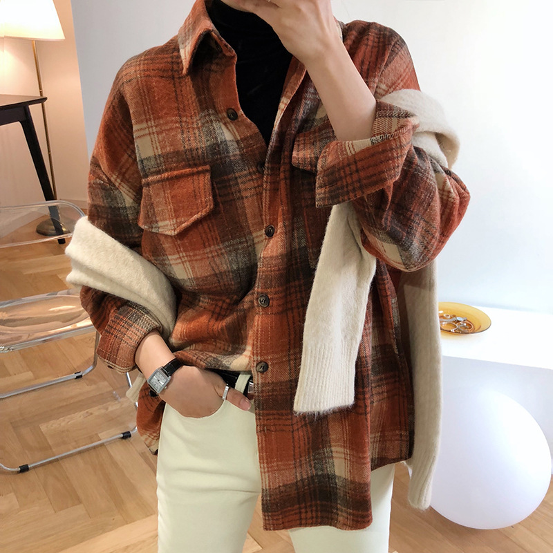 Women' Spring Plaid Blouse New Padded Sanding Cotton Shirt Women's Loose Long Sleeve Shirt Jacket 981