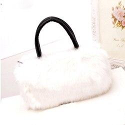 Femmes en peluche sac à main moelleux Faux lapin cheveux épaule messager sac à bandoulière B99
