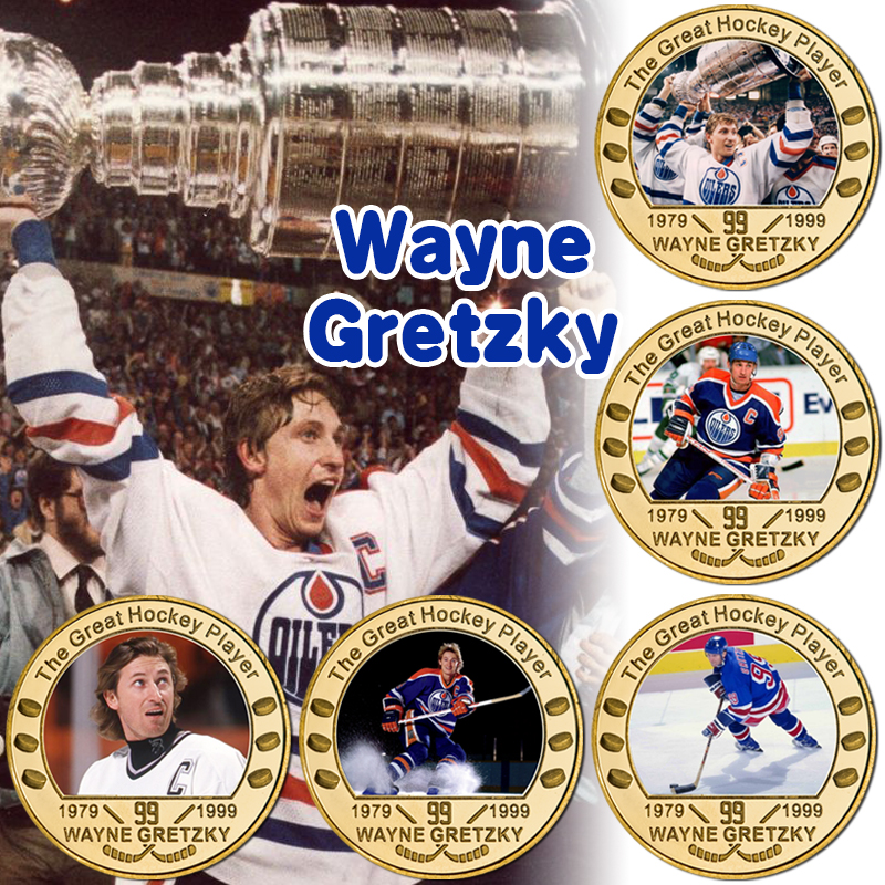 The Great One Canadian Ice Hockey Player Gold Plated Commemorative Coins Collectible Sports Challenge Coin Souvenir Gift for Him
