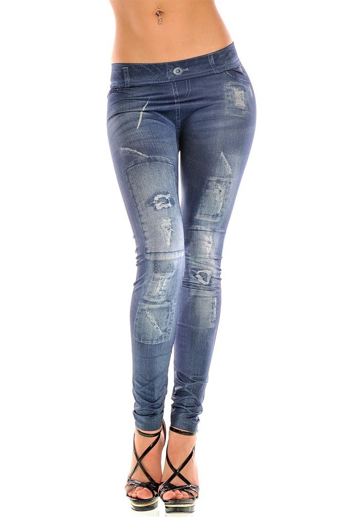 Newly Girls Fashion New Stylish Gray Faux Jean Denim Like Women Leggings Pants CLA88