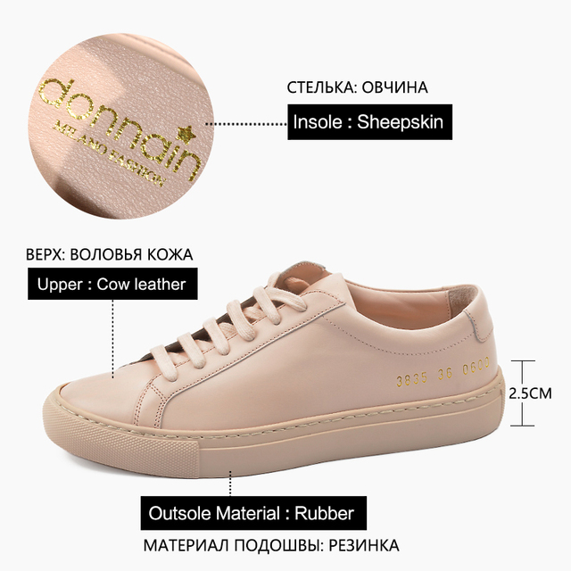 Donna in Sneakers Women Genuine Leather Flat Low Heel Platform Ladies Lace Up Fashion Breathable Shoes