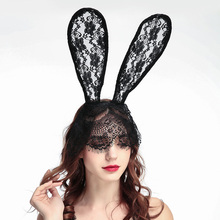 Halloween Ornaments Lace Rabbit Bunny Ears Headbands Hair Accessories Masks Dance Party Headwear