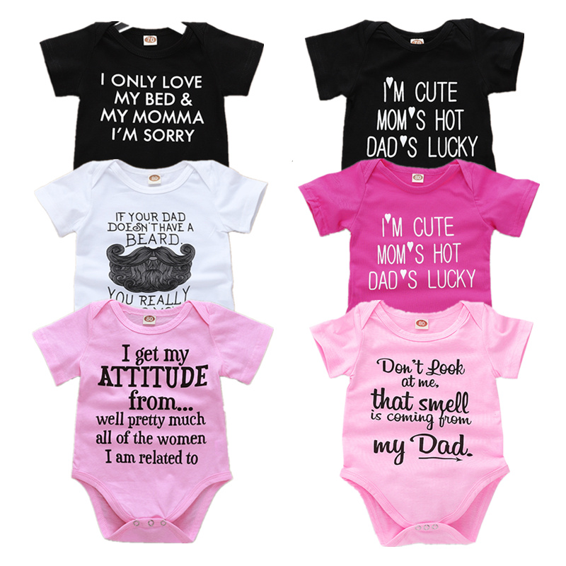 Newborn Baby Bodysuit Tiny Cottons Summer Short Sleeve White Black Pink Baby Boy Girl Clothes Mommy Daddy Funny Baby Onesie