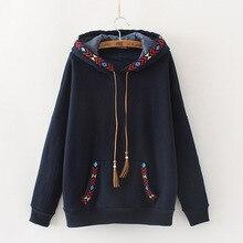 Ethnic Embroidery Vintage Hoodies Women Autumn Winter Warm Fleece Suede Tassel Rope Hooded Pullovers Hoody Ladies sweat capuche