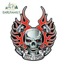 EARLFAMILY 13cm x Angry Head Skeleton Funny Car Stickers for Volkswagen Vinyl JDM RV VAN 3D DIY Fine Decal Accessories