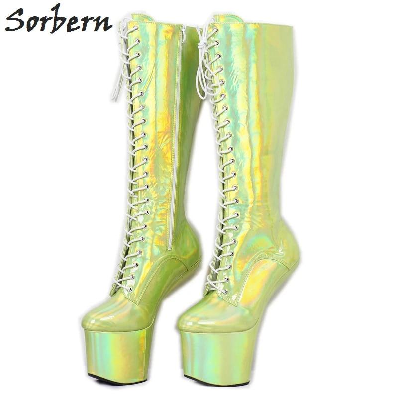 Sorben Holo Knee High Heelless Boots For Drag Queen Light Hoof Platform Boot Lace Up Crossdresser Ladies Shoes Thick Heels New Knee High Boots Aliexpress