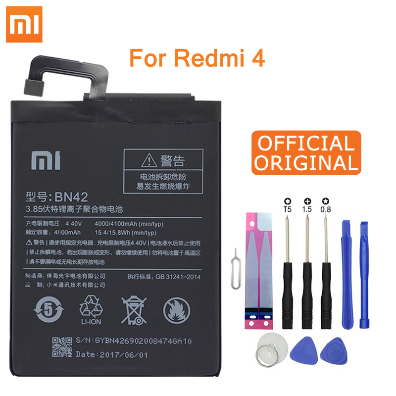 Xiao Mi Original Phone Battery BN42 For Xiaomi Redmi Hongmi 4 Original Replacement Batteries High Capacity 4000mAh Free Tools
