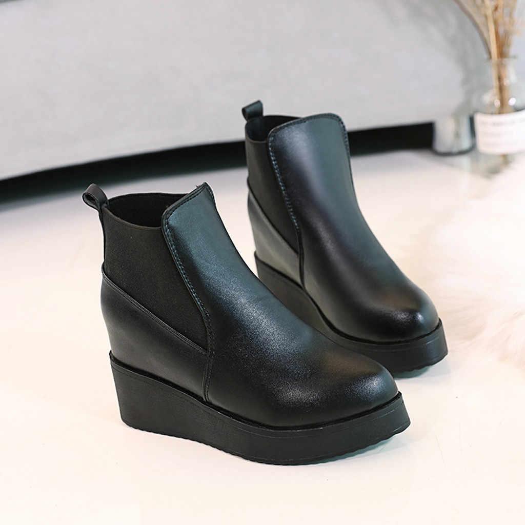 2019 ฤดูใบไม้ร่วง Wedges แพลตฟอร์มรองเท้าผู้หญิงรองเท้า Pu หนังข้อเท้ารองเท้าบูทสำหรับสุภาพสตรีสีดำสั้น Botas Mujer