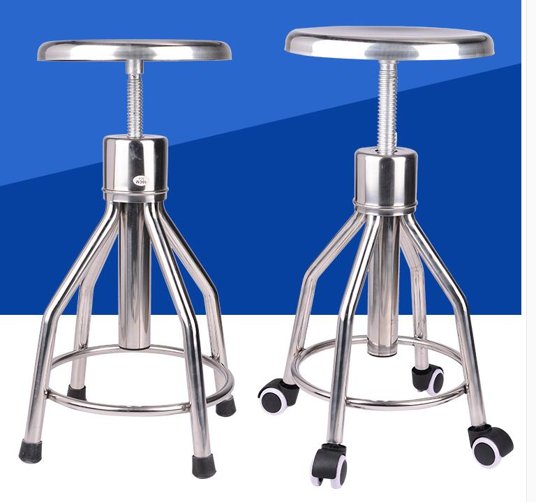 304 Thickened Stainless Steel Medical Lift Round Stool Bar Chair Laboratory School Factory Workshop Rotating Chair