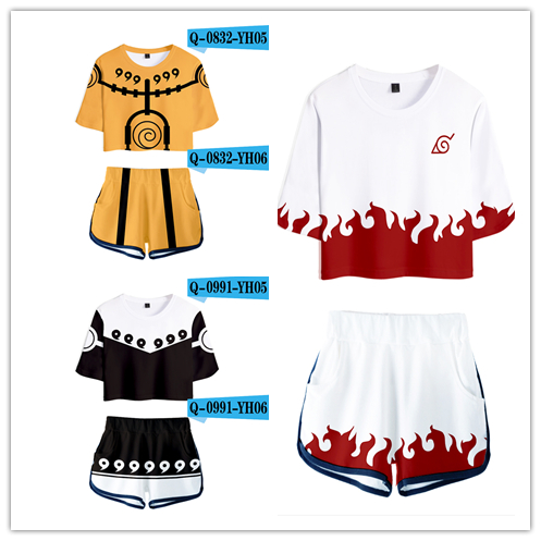 Hot Sale Casual Crop Tops 3D Naruto Shorts And T-shirt Women Clothes 2018 Harajuku Tops Hip Hop Kpop Coat Plus Size XXXL