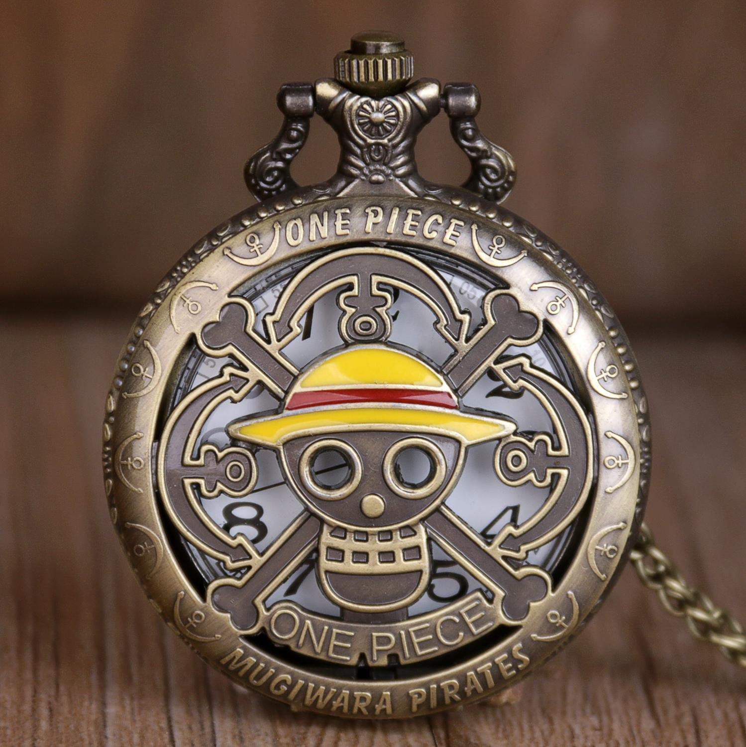 High Quality Anime Pocket Watch One-piece Skull With Straw Hats Cover Chain Cool Comic Clock Best Gifts For Men Women Children
