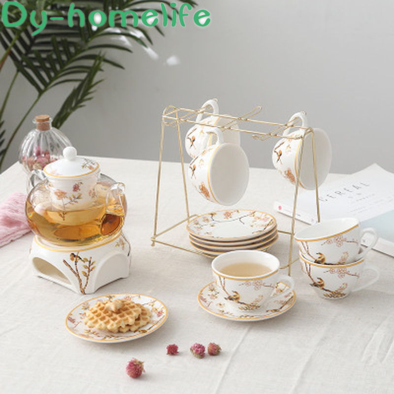 European Magpie Butterfly Pattern Candle Furnace Heating Glass Ceramic Coffee Tea Set Hotel Household Glass Teapot Ceramic Cup