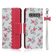 Magnetic Cute flower girl Case for Samsung Galaxy S10 Plus Note 10 Pro Wallet PU Leather Flip Case for Galaxy A40 S8 S9 S10e flower pattern protective flip open pu leather case for samsung galaxy note 3