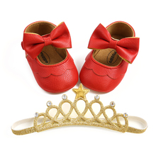 Princess Baby Baptism Shoes and Headband Set Cute Bowknot Mary Jane Flats and Crown Headband for Infant Girls