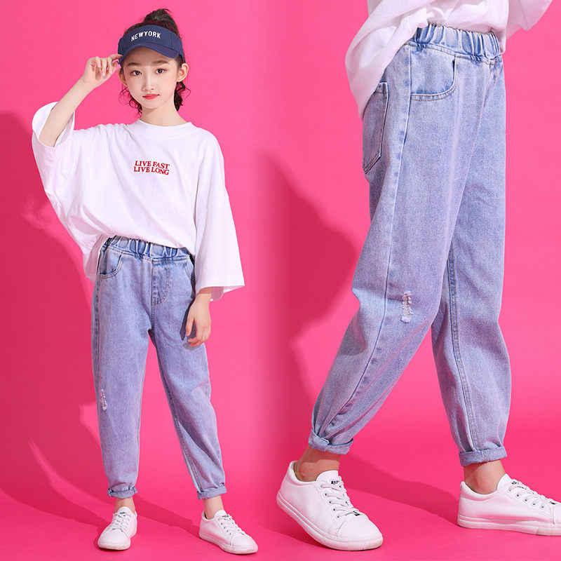 Katı Kot Kızlar için 13 Yıl 4 Yıl Yürümeye Başlayan Kızlar için günlük pantolon Bebek Kot Pantolon Kızlar için Çocuk Ilkbahar Sonbahar giysi