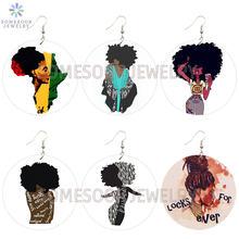Somesoor афро повороты натуральных волос деревянные серьги в
