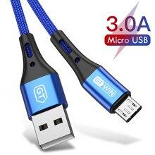 Gtwin micro cabo usb 3a cabo de dados de carregamento rápido para samsung xiaomi p30 micro usb carga rápida android cabo do telefone móvel 3m
