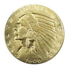 позолоченные 1908 Индийский Глава 5 $памятная коллекция монет копия старой монеты подарок падение доставка