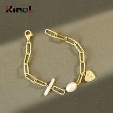 Kinel Baroque Freshwater Pearl Woman Bracelet 925 Sterling Silver 18K Gold Silve