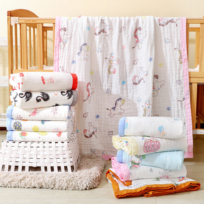 6 Layers Thick Cotton Muslin Blanket Baby Swaddle Baby Summer Blanket Stroller Cover Bath Towel Multi Use Baby Receiving Blanket