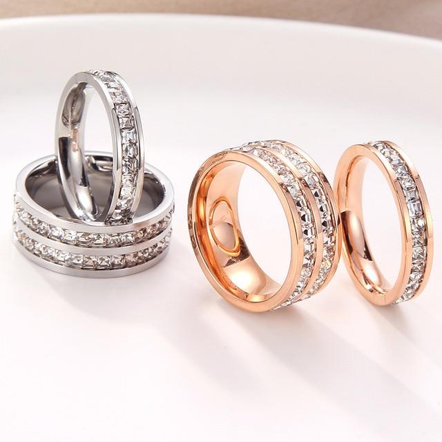 KNOCK  Girls Geometric Ring  Filled & Rose Gold Ring Promise Wedding Engagement Rings For Women Best Gifts 2