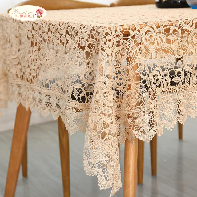 Proud Rose Light Coffee Embroidered Table Cloth European Lace Tea Table Cloth Home Decor Rectangular Tablecloths Table Cover