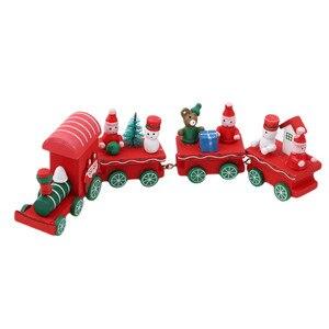 Image 4 - חדש חג המולד רכבת צבוע עץ צעצועי עם סנטה/דוב חג המולד קיד צעצועי מתנת קישוט navidad חג המולד צעצועים לילדים