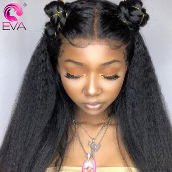 Eva Lace Front Human Hair Wigs Pre Plucked With Baby Hair Brazilian Kinky Straight Lace Front Wigs For Black Women Remy Hair Wig