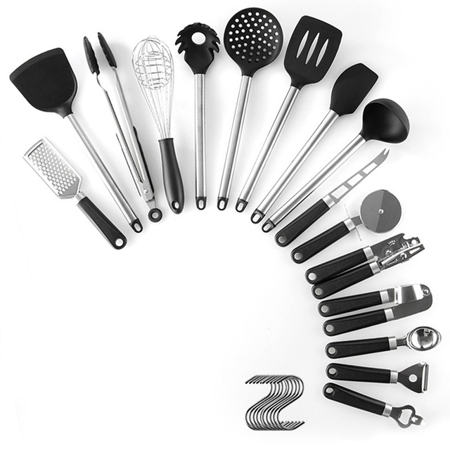 15PCS Silicone Kitchenware Set Stainless Steel Handle Kitchenware With Punch-free Function, Convenient General Environment 6