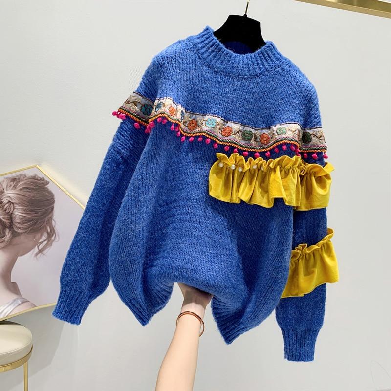 Leiouna Loose Turtleneck Patchwork Sweater Korean Patchwork 2020 Fashion Winter Women Twist Knit Sueter Top Beading Pull Femme