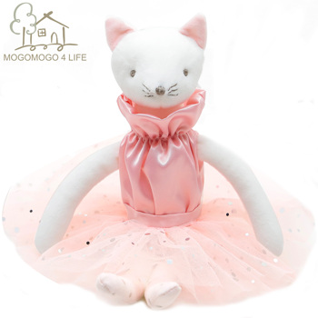 1 piece sweet artificial real fur made cats toy sleep baby kat kittens pussy cat doll decorations birthday gift for child girls Luxury Ballerina Cat Plush Stuffed Toys Sweet Birthday Gift For Girls Fashion Handmade Designer Pink Princess Ballet Kitty Doll