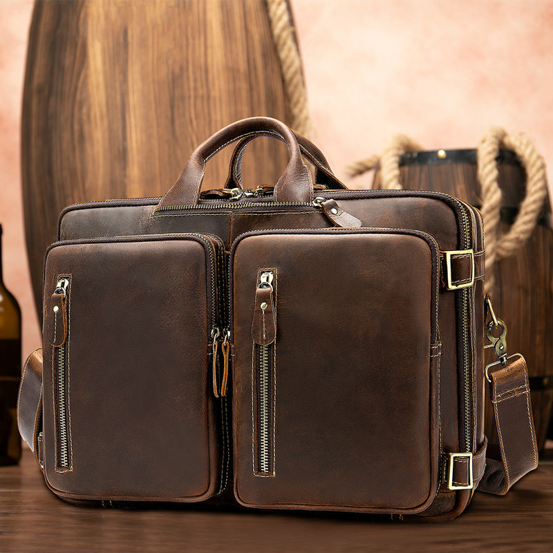 Men's Briefcases Handbag Leather Laptop Bag Men Men's Genuine Leather Office Bags For Men Business 14inch Document Bag 432