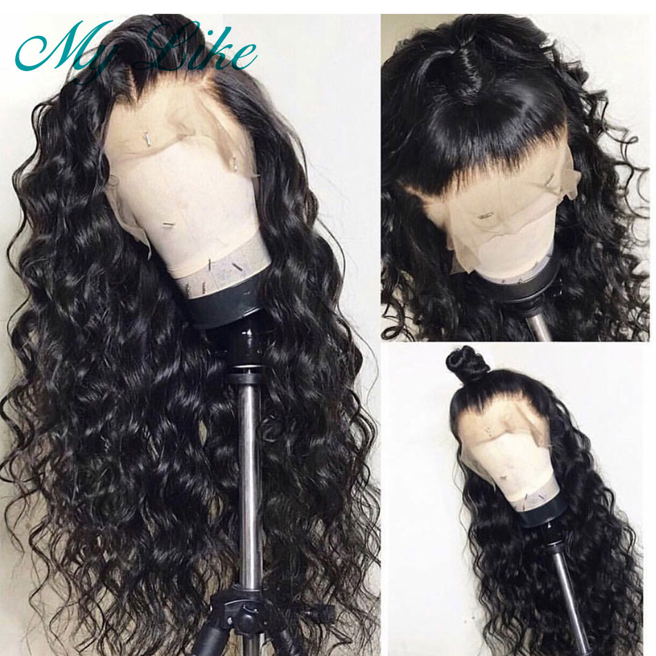 My Like 360 Lace Frontal Wig High Ratio Brazilian Deep Wave Remy Human Hair Wigs Pre Plucked With Baby Hair For Women 130% 150%