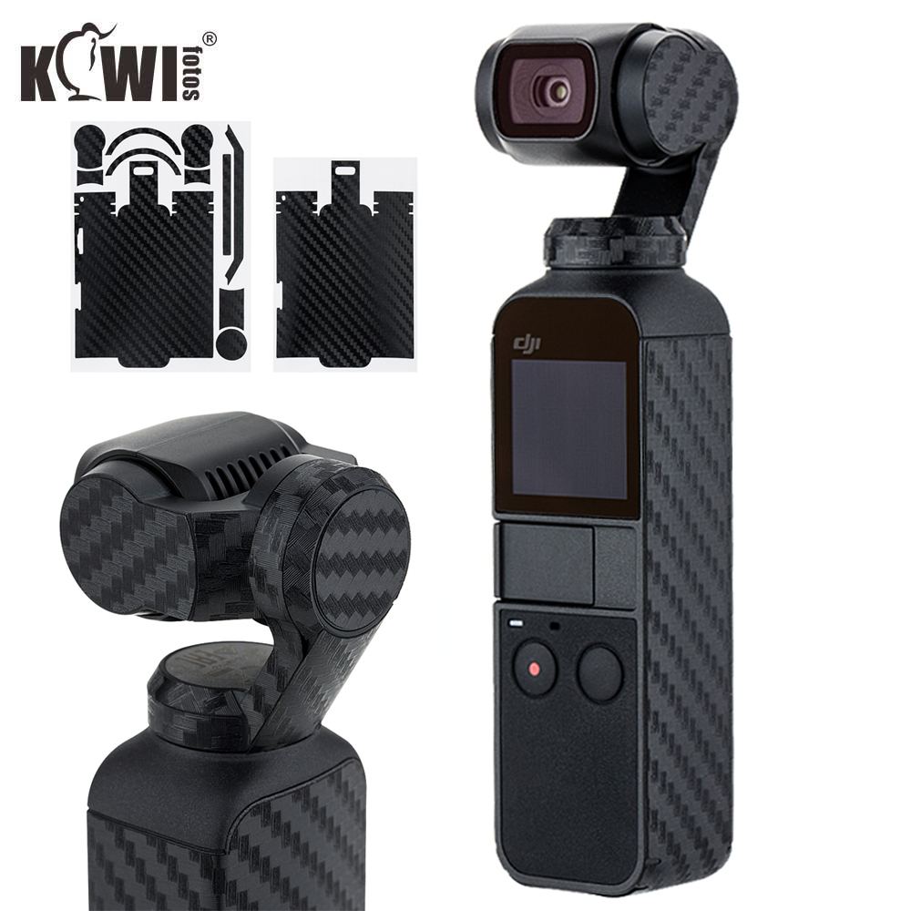 Kiwifotos Anti-Scratch Camera Cover Skin Protector For DJI OSMO Pocket Body Anti-Slide Grip Holder 3M Sticker Carbon Fiber Film