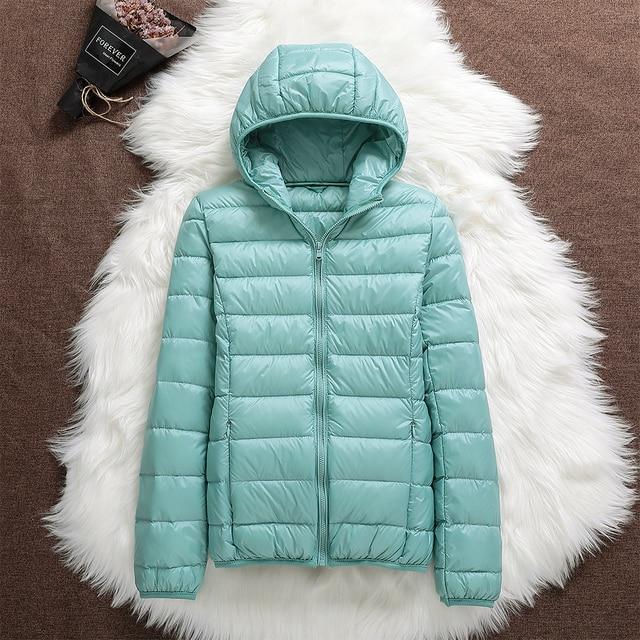 Winter Oversized Women's Ultralight Thin Down Jacket Duck Down Hooded Jackets Long Sleeve Warm puffer jacket parkas woman 2021 6