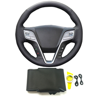 DIY hand sewing braided black genuine leather steering wheel cover accessories for Hyundai IX45 Santa Fe 2013 2014 2015 2016