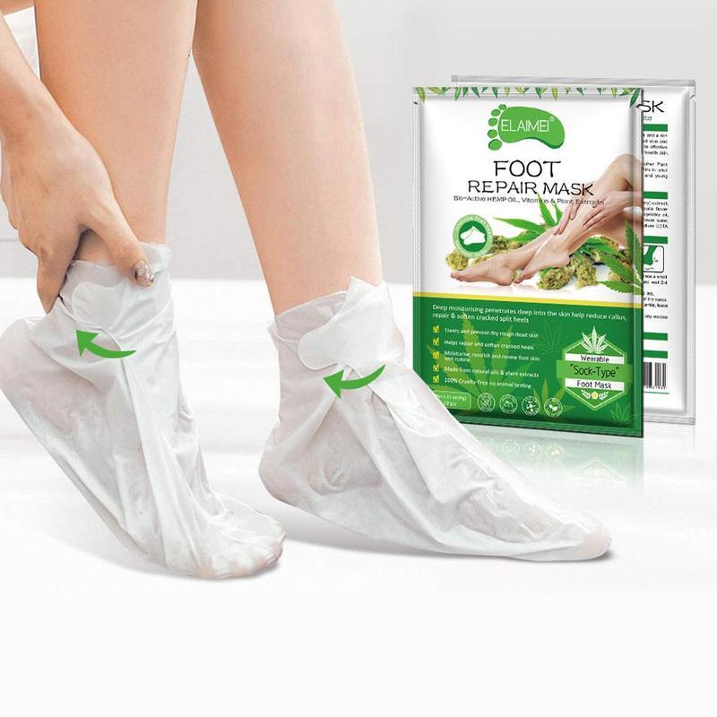 Effective Hemp Oil Moisturizing Exfoliating Hand Mask Glove Collagen Skin Care Anti Aging Hand Peeling Exfoliat 2pcs