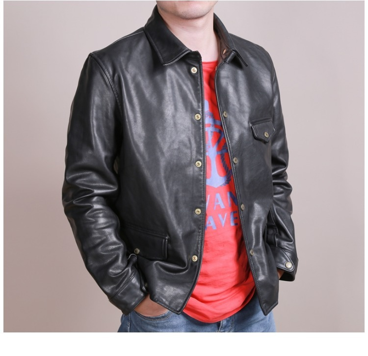 Free Shipping.Brand New Classic Cowhide Coat,man's Genuine Leather Jackets,men Slim Brakeman Style Jacket,quality