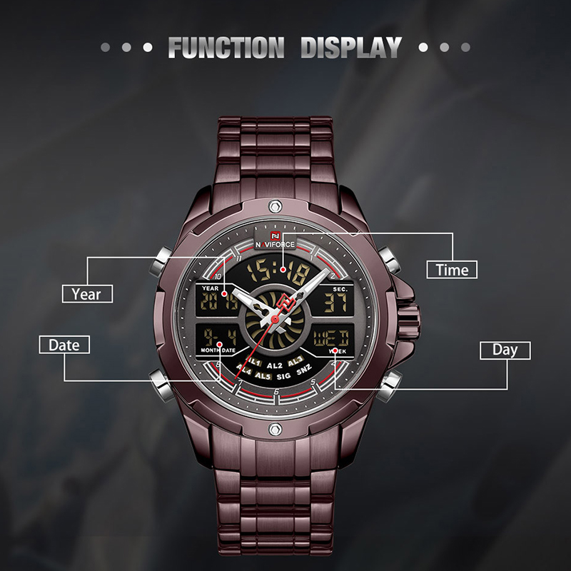 Image 3 - NAVIFORCE Luxury Mens Sport Watch Brand Military Waterproof BackLight Digital Quartz Wrist watches Men Clock Relogio Masculino-in Quartz Watches from Watches