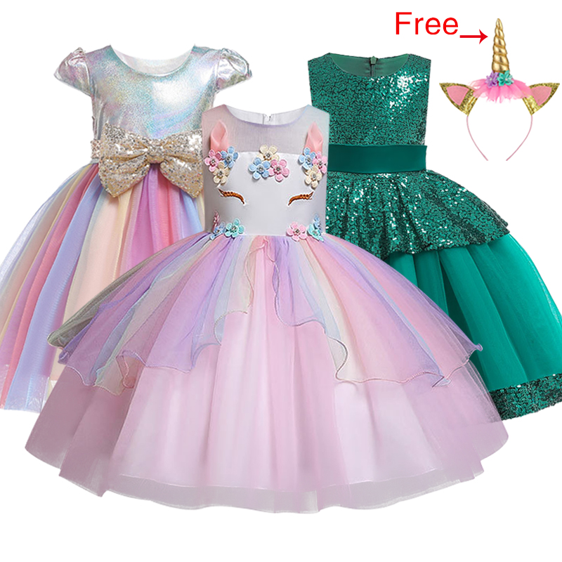 <font><b>Kids</b></font> <font><b>Unicorn</b></font> <font><b>Dress</b></font> for Girls Embroidery Flower Ball Gown Baby Girl Princess <font><b>Dresses</b></font> for Party Costumes Children Clothing image