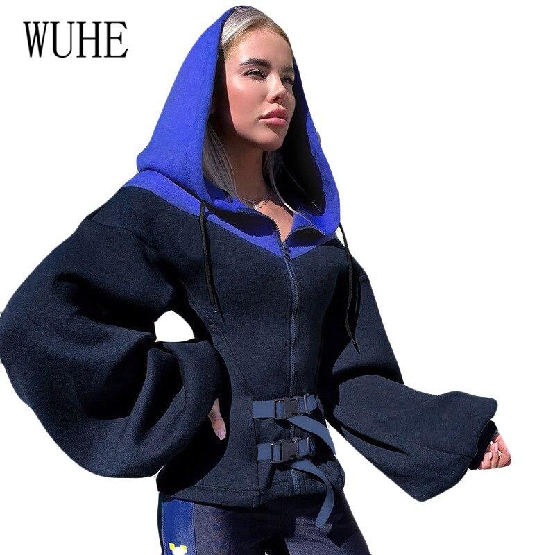 WUHE Newest Zipper Fashion Hooded & Sweatshirts Elegant Long Sleeve Hollow Out Patchwork New Bag Buckle Femme Jacket
