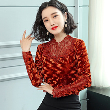Fashion Sexy Shirts Women Long Sleeves Shirt Vintage Ladies Winter  Autumn Blouse Lace Womens Blouses Blu Classic Tops