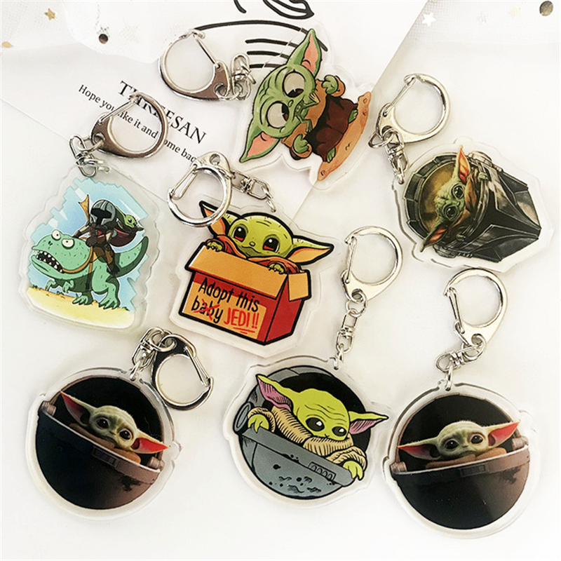 Baby Yoda The Mandalorian Keychain Keyring Star Wars 9 Cosplay Lovely Acrylic Key Ring Accessories Props