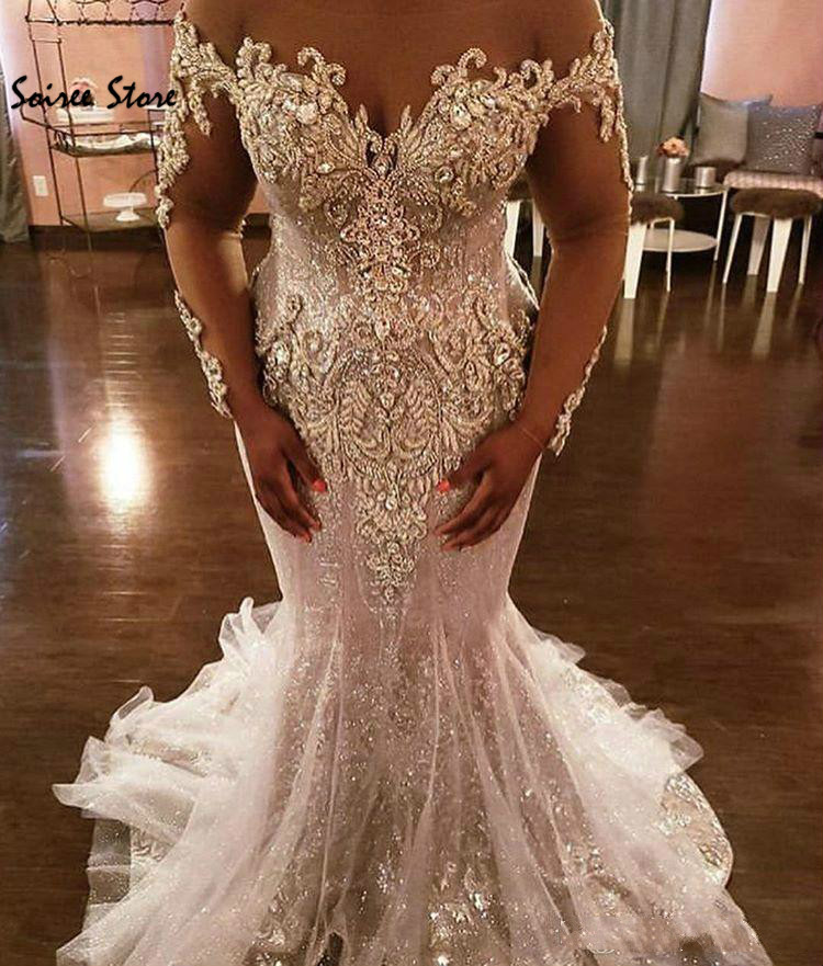 Bling Spark Mermaid Wedding Dresses African Plus Size Country Wedding Gowns With Crystal Long Sleeve Luxury Bridal Dress 2020